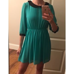 Turquoise Dress with Peter Pan Collar